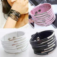 Wholesale 30pcs Multilayer Leather Charm Bracelet Width Bangle Fashion Gourmette Chain Wristband Jewelry