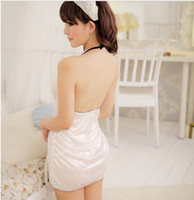Wholesale Midnight charm Women s Sexy lingerie white chalaza halter underwear girl night sleepwear dress G String QQ03