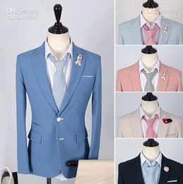 Wholesale Hot fashion men s Suits New element Korean version Slim Two Button Suits After slit casual men s sui xb