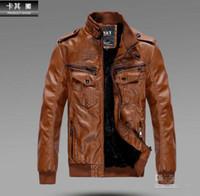 Men Leather  Waist_Length FREE SHIPPING Men's PU Locomotive Leather Jacket Coat Thickening Fur Outerwear Slim Winter Jacket Brown , M-XXXL