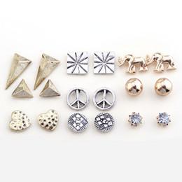 Wholesale Lureme Fashion Vintage Earrings Set Pieces per Set jordans for women ear expansion owl earring fashion earrings four leaves earrings ear
