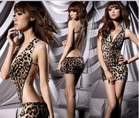 Wholesale Women s Lingerie apparel sexy leopard print game uniform open girl night club dress party clothing QQ06