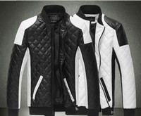 Wholesale free shpping new fashion stand collar zipper jacket Men s leather coat cotton padded clothes