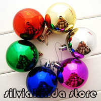 Wholesale High quality cm Large shiny Multi Color christmas Bell balls plastic tree Hanging item ornaments decorations Seasonal Deco