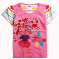Wholesale K3991 Pink White y y Nova Kids clothes hot summer baby t shirts cotton short sleeve cartoon Everything s Rosie printing girls tee shirts
