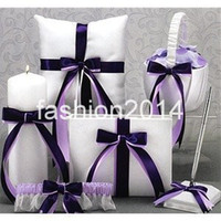 Wholesale PURPLE bow rhinestone Guestbook Pen Set Ring Pillow Flower Basket Garter unity candle for Wedding Favors