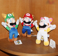 Wholesale Super Mario Bros Plush Figure quot Raccoon Tanooki Mario Kitsune Fox Luigi White Racoon Fire Mario