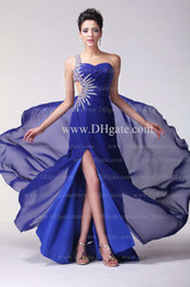 Real Image Evening Dress A Line One shoulder Side Slit Beaded Cut Out Blue Color Free shipping