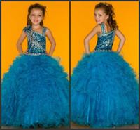 Model Pictures Girl Applique Full Ruffled Skirt Handmade Flower Sparkling Jewel Sequins Beaded Tulle Long Little Girls Sugar Pagean Prom Gowns DH79