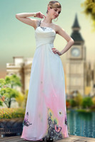 Wholesale One shoulder Embroidery Ankle length Ruffle Sash Backless Beads Sequin chiffon A line Sleeveless Prom Dresses