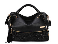 Wholesale Well designed Black Handbag Top level PU Fabrics Leopard Print Shoulder Bag Dumpling Shape Totes Sequin Decorated Durable Beautiful Handbag