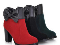 Wholesale Cheap Women Ankle Boots Suede Rubber Bowknot Sole Black Red Green Colors High Heel New Arrival prs A8