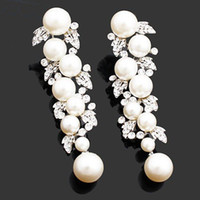 ba design - pearl drop earrings rhinestones BA colors unique design clear white crystals wedding Jewelry dangle earrings