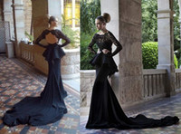 Lace Long Sleeve Court Train Scoop Glitz Backless Black Lace Evening Dresses With long lace Sleeves peplum Mermaid Dresses Chapel Train Evening Gown BO1055