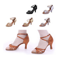 Wholesale 2171New Woman Latin dancing Ballroom Tango Samba dance shoes high heeled shoes for Stage Performance Black Gold Silver Natural Brown Lerpord