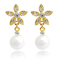 ba screws - pearl clip on earrinngs flower drop earrings silver plated pairs Rihood Jewelry new arrival BA