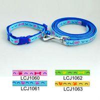 Wholesale 1cm Pet Dog Heart amp Bones Print Collar Leash Set Colors