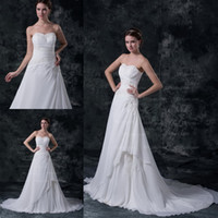 A-Line Model Pictures Strapless Lovely Strapless A-line Wedding Dresses Court Train Zipper Bridal Gown Crystal Pleat Sash White Ivory Special Evening Dresses DH003781