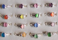 Wholesale GET OFF IF BUY OR MORE cat eye rings silver tone ring mixed size fashion costume jewelry