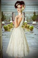 Reference Images beautiful tea length dresses - Gorgeous NEW arrival A line V neck tea length wedding dresses beautiful stunning bridal Dresses