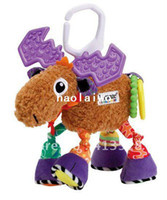 Cloth 0-12 Months  Hot sale super cute multifunctional Pere David's deer  antelope brown lamaze bed hang bell baby toys 1pc L00909