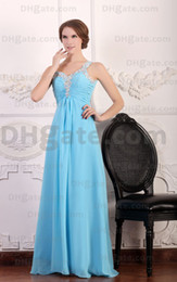 Wholesale Aqua One Shoulder Long Prom Dress Beaded Strap Evening Dresses Cheap Chiffon Dress Custom Made dhyz