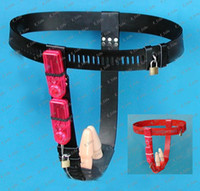 Female Chastiy Belt  Female T style chastity belt, anal plug vagina plug vibration, Leather chastity device Black Red