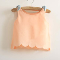 Wholesale Children Clothing Sleeveless T Shirt Girls Condole Belt Chiffon Shirts Fashion Bowknot Lace Tank Tops