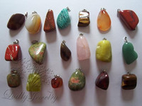 Wholesale natural stone pendants mixed new cats eye rose quartz crystal red agate jewelry