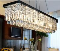 Hotel glass dining room - Length cm Modern LED Crystal Pendant Light Ceiling Lamp Chandelier Lighting