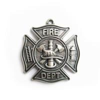 Wholesale Silver Plate Firemen Firefighter Fire Dept Charm Pendant PENDANT OC010SL Brand New In Stock