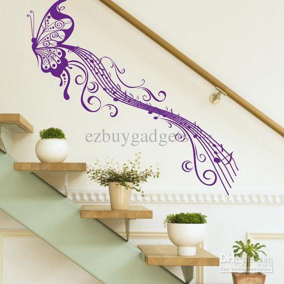Butterfly Music Note Wall Decals Diy Art Vinyl Wall Sticker Home Decor