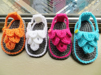 Crochet baby sandals first walker shoes infant slippers ruff...