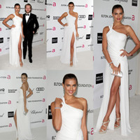 Wholesale 2012 th Oscar Awards DHgate Irina Shayk One Shoulder Pleat Chiffon Front Slit White Simple Modern Floor Length Celebrity Prom Dress BO1412