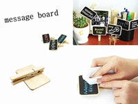 Wholesale 30pcs Reusable Wooden Mini Chalkboard Blackboard Clip Old Fashioned Message Board