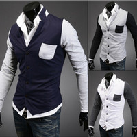 Wholesale 2013 new fashion mens Sweaters casual long sleeveSlim sportsman spell color cardigan sweater