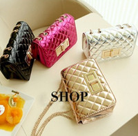 Wholesale Fashion Children Bling Bling Plain PU Single shoulder Bag Girls Messenger Bags Princess Diamond Check Chain Bags EMS