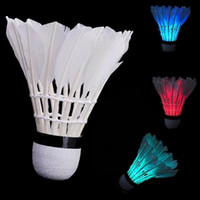 Wholesale Pieces New Dark Night Colorful LED White Badminton Feather Shuttlecocks Birdies