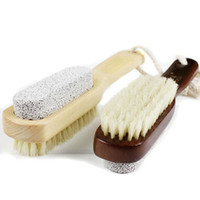 bath salt - Comfortable Wooden scrub brush foot bath salts Foot stone brush bristle brush Pumice brush t5538