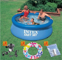 Wholesale DHL free Inflatable Swimming Pool INTEX Pools Giant Round Retail package inch inch free air Pump Brand new