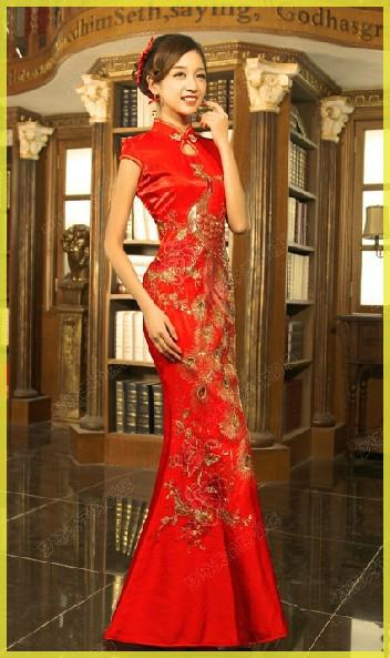 Good Price Real Classical Red Chinese Embroidery Cheongsam