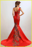 Wholesale Classical Red One shoulder Chinese Embroidery cheongsam Dragon Phoenix Image beaded Mermaid wedding dress Lady party Long Prom evening gown
