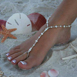 Wholesale barefoot sandals stretch anklet chain with toe ring slave anklets chain pair retaile sandbeach wedding bridal bridesmaid foot jewelry
