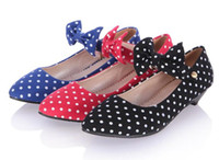 Wholesale Brand Womens New Fashion Bowtie Polka Dot Style Casual Shoes Lady Flat Heel Colors PU Low Price PR A9