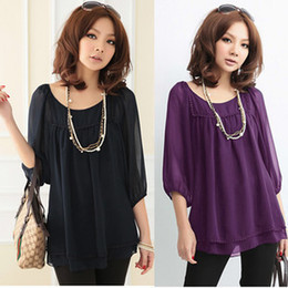 Wholesale New Flouncing Design Chiffon Shirt Loose Large Size Women Shirt Round Neck Lantern Seventh Sleeve Shirts