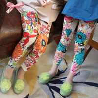 Wholesale Printed Leggings Fashion Trousers Girls Tights Child Clothing Leggings Flower Pants Kids Clothes