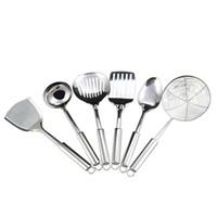 Wholesale 6Pcs Stainless Steel Kitchen Tools Spade Strainer Rice Spoop Spade strainer Noodle Spade Ladle
