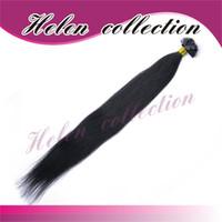 Wholesale Best Quality a Hair Extension black straight flat tip brazillian virgin hair