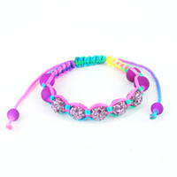 Wholesale Children Kids Shamballa Bracelet Crystal New Europe style Shamballa Bracelet Purple KB04008