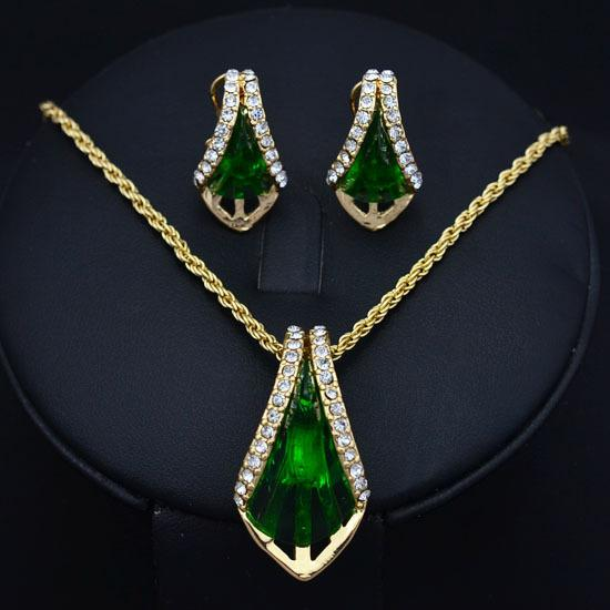 Best fashion costume jewelry sets gold plated rhinestone for Bridesmaid jewelry sets under 20